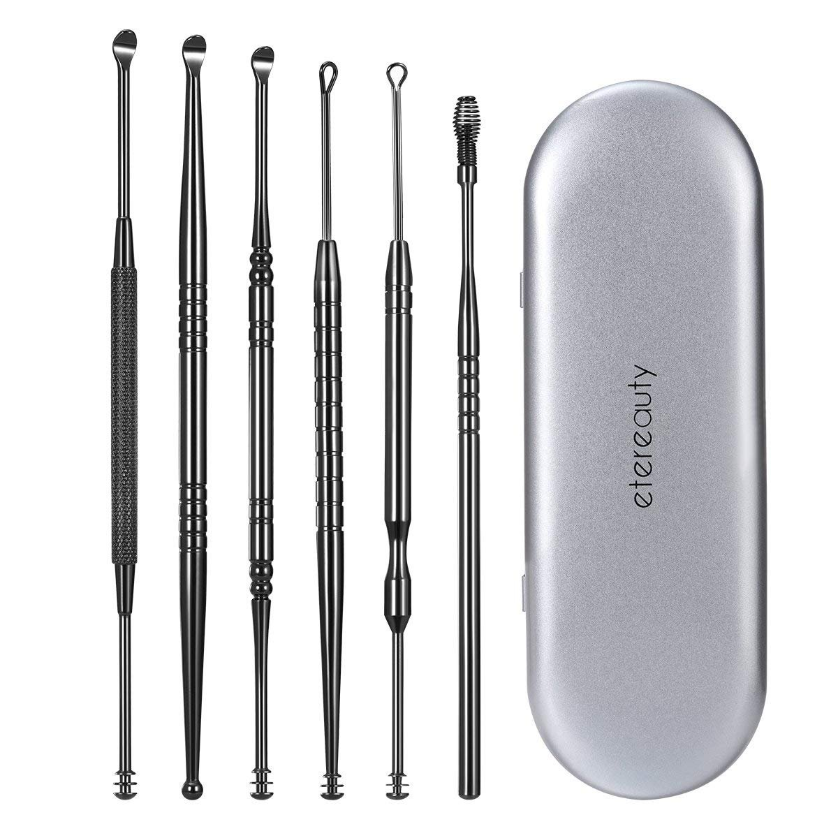 Ear Wax Remover, ETEREAUTY Ear Cleaner, Ear Pick with Storage Box Stainless Steel 6 Pieces
