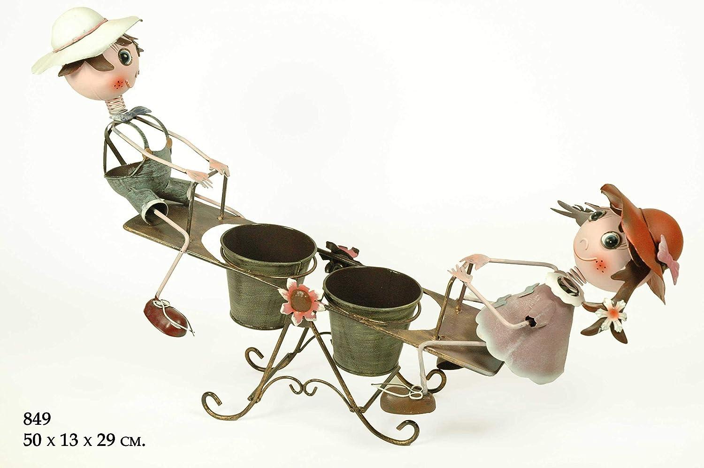 CAPRILO Macetero Doble Decorativo de Metal Niños en Balancín. Adornos y Figuras. Decoración para Jardín. Regalos Originales. 50 x 13 x 29 cm. IB 2: Amazon.es: Hogar
