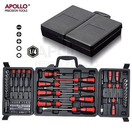 Apollo 60pc destornillador y puntas de destornillador Juego de herramientas con juego de vaso, 18PC Métricas ...