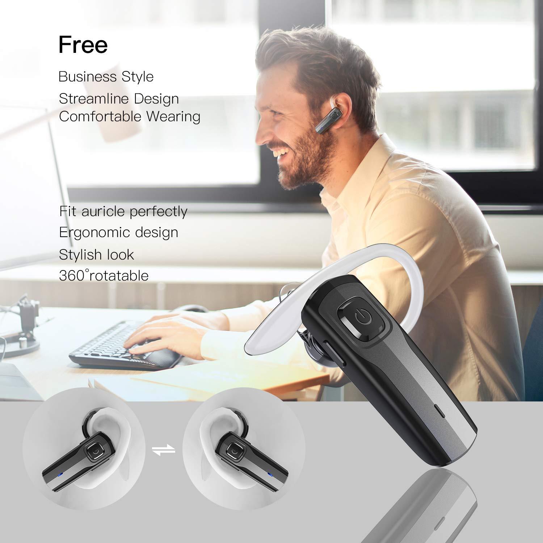 Bluetooth Headset [Business Stil] Wireless Headset Handy Bluetooth Kopfhörer kabellos Freisprechanlage Bluetooth Ohr mit Mikrofon Clear Voice Capture Technologie Ohrhörer für iPhone Samsung, etc