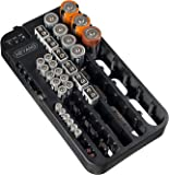 Battery Organizer Storage Rack with a Removable Battery Tester Holds 72 Batteries Various Sizes (72-holder)