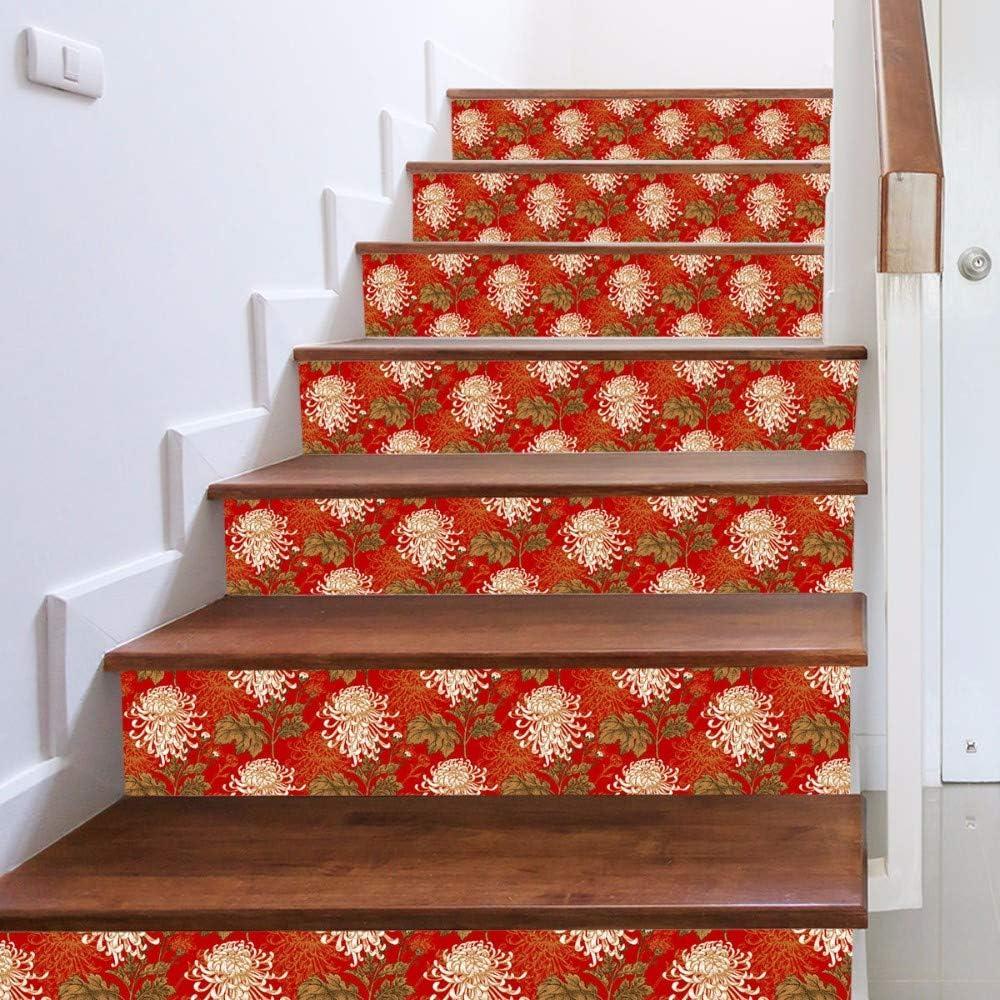 jasmine XDL store Escaleras de Terciopelo de imitación Flor Grande Pegatinas Creativas Escalera Personalidad casa DIY Pegatinas de Pared Escalera Pegatinas de Pared Decorativos 6 Unidades: Amazon.es: Hogar