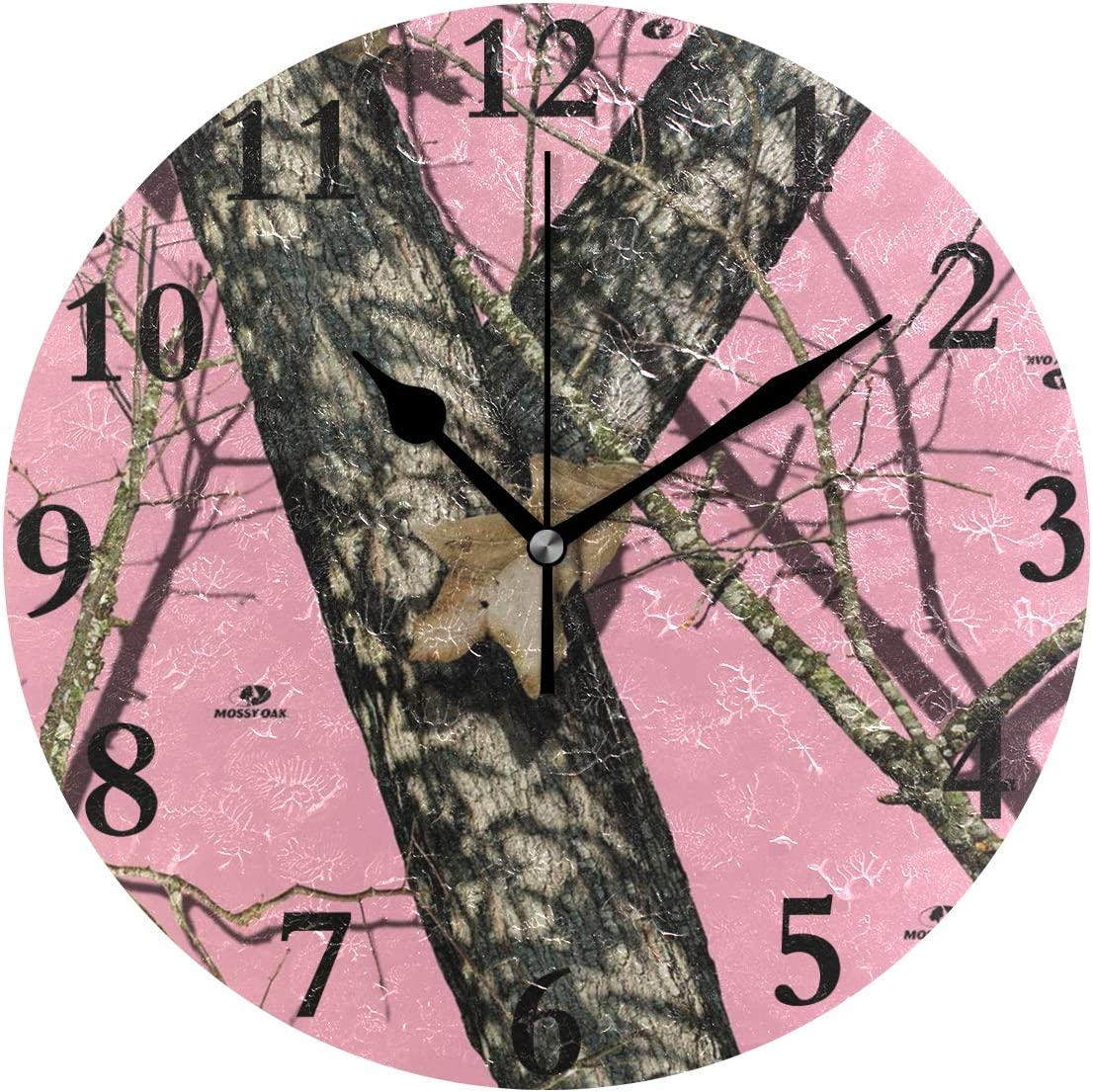 NMCEO Round Wall Clocks, Mossy Oak Pink Camo Wall Clocks Battery Operated, Wall Clock Silent Modern Decorative for Kids 9.8 Inch