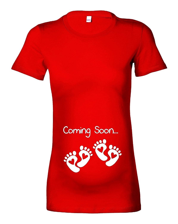 Womens Twins Coming Soon Maternity T-Shirt