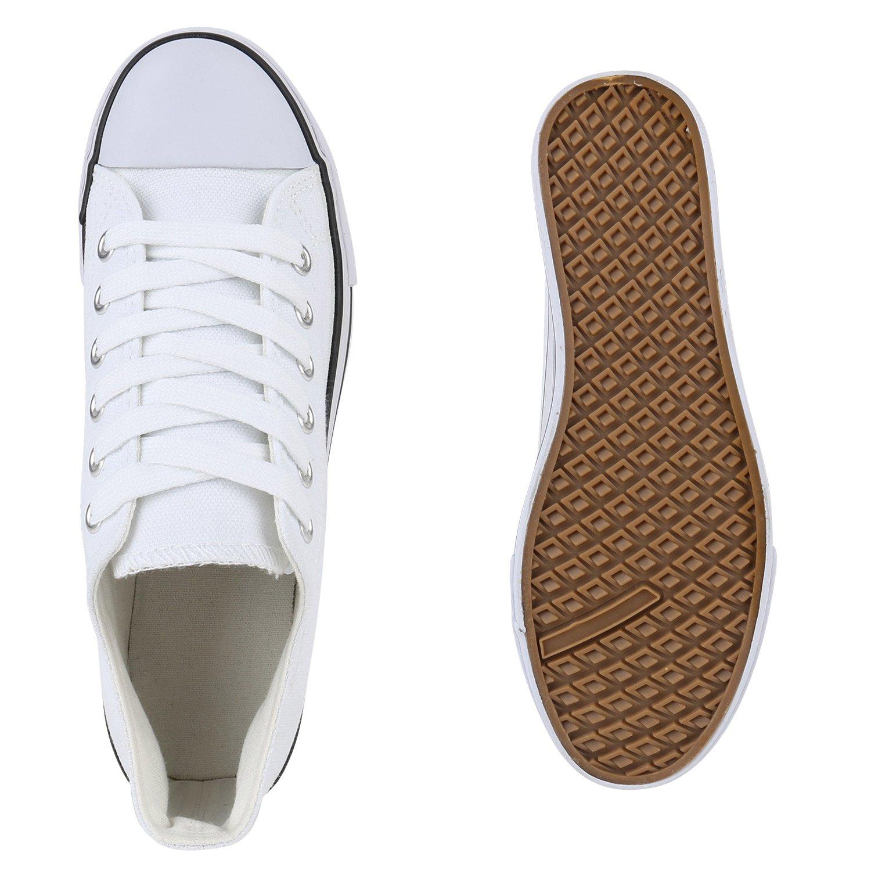 Stiefelparadies Damen Flandell Plateau Sneaker Prints Flandell Damen Weißs Weißs Plateau fe2e3a