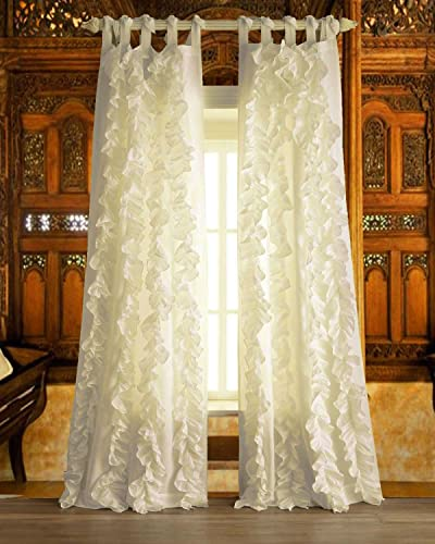 BU Ivory Vertical Ruffles Faux Silk Tie Top Unlined window curtain panel 52 W X 96 L