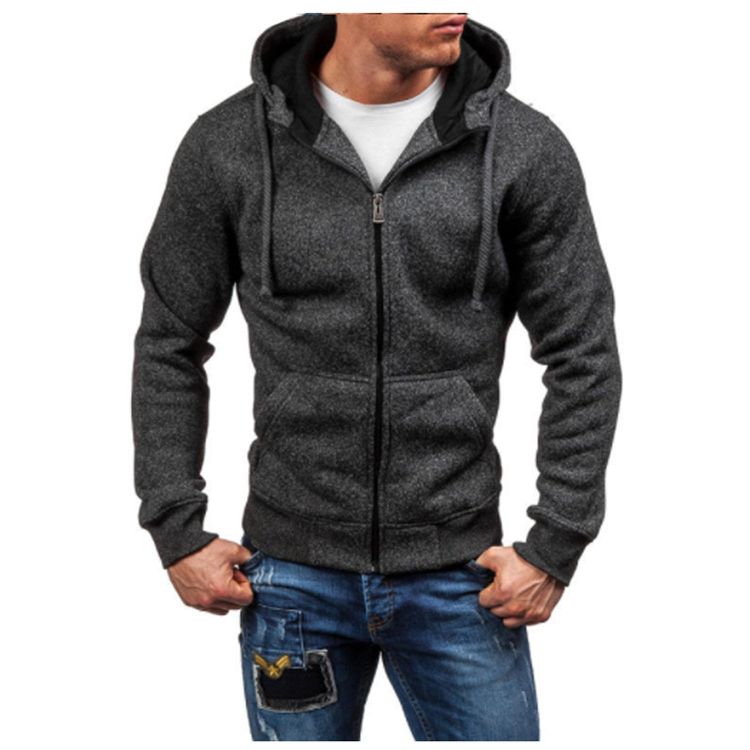 Beautifullight Cool Men Hoodies New Sudaderas Hombre Hip Hop Mens Solid Zipper Hoodie Sweatshirt Slim Fit Men Hoody Size XXL at Amazon Mens Clothing store: