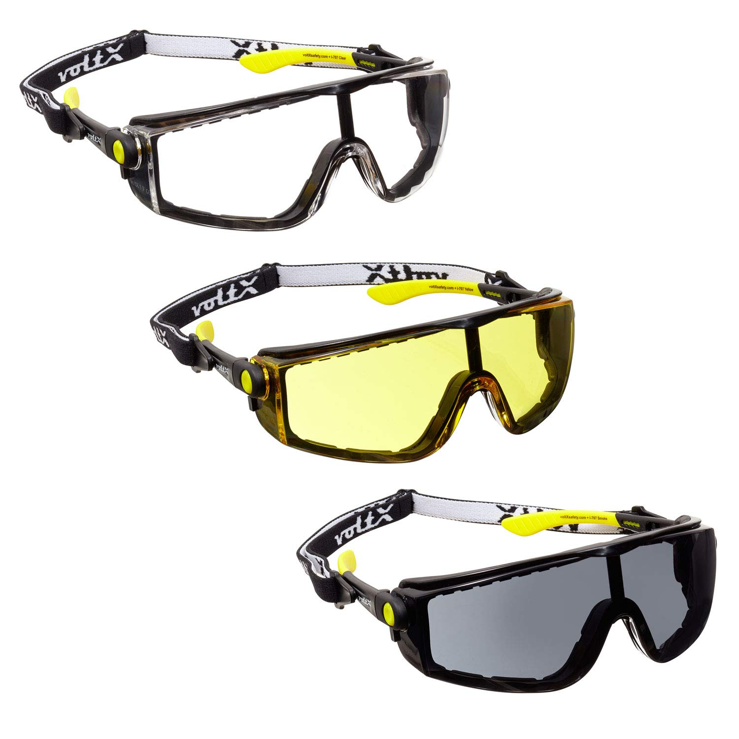 3 x voltX 'QUAD' 4 in 1 CLEAR, YELLOW & SMOKE Lens Safety Glasses, with foam insert, removable headstrap, CE EN166f certified