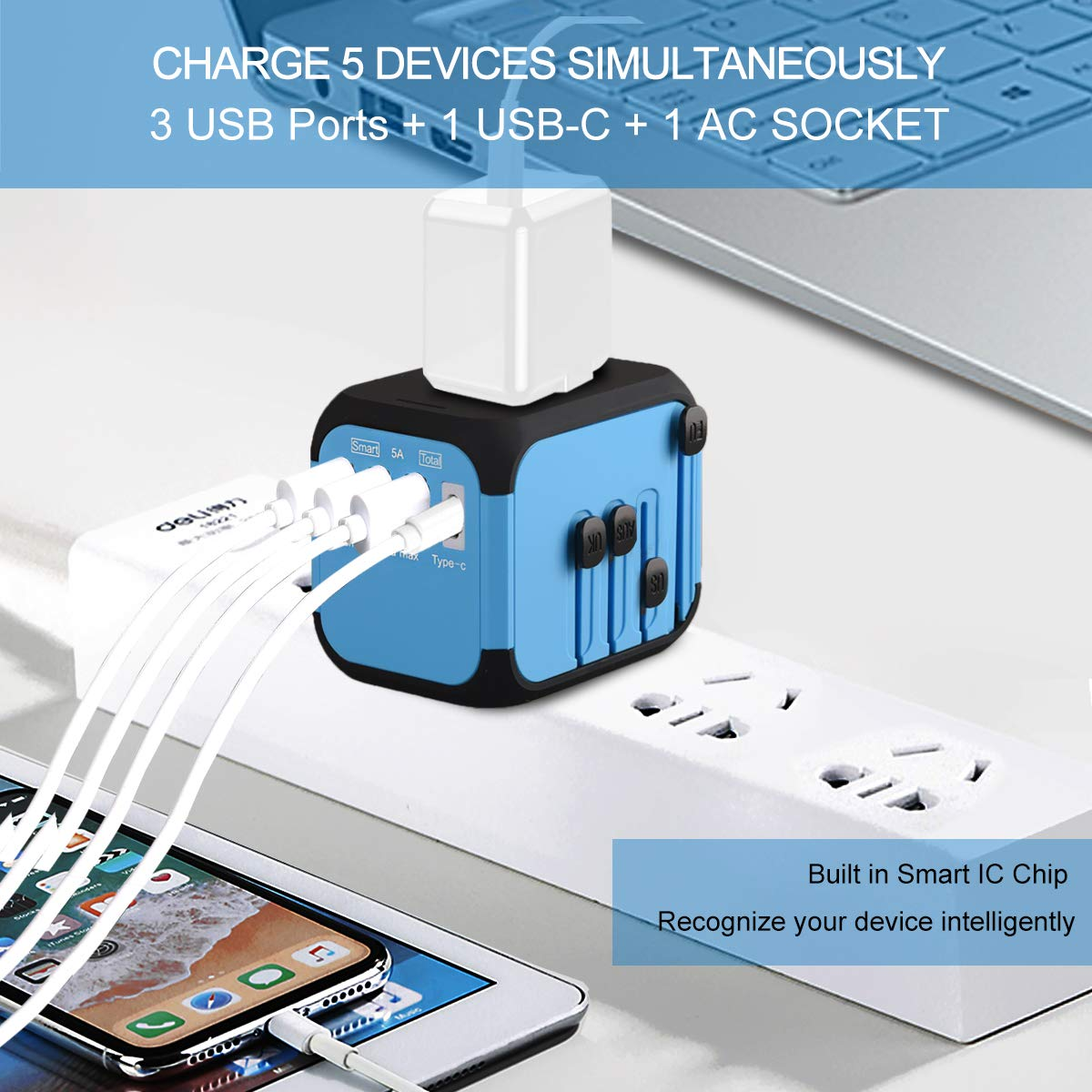 3 USB Ports /& 1 USB-C, Smart Charger 5A Total GOLDFOX Upgraded Universal Travel Adapter with Auto-Reset Fuse Worldwide International Power Adapter w// US UK EU AUS Plugs Electric Outlet Wall Charger AC Plug for Europe Travel Asia 200+ Countries Black
