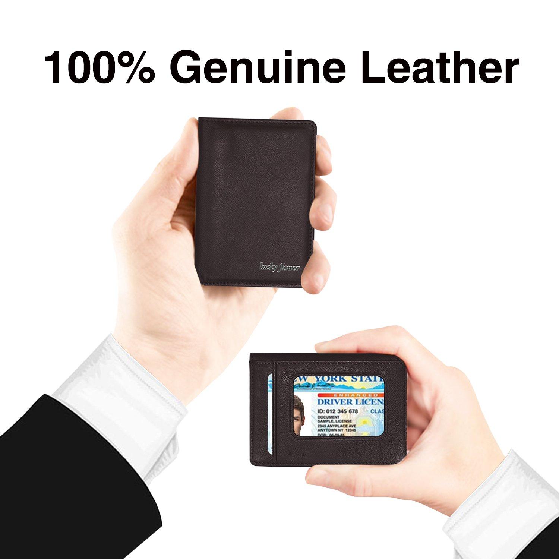 LUCKY FLOWER RFID Blocking Travel Wallet for Men,Minimalist Genuine Leather Slim Bifold Card Holder Purse(Coffee) by LUCKY FLOWER (Image #3)