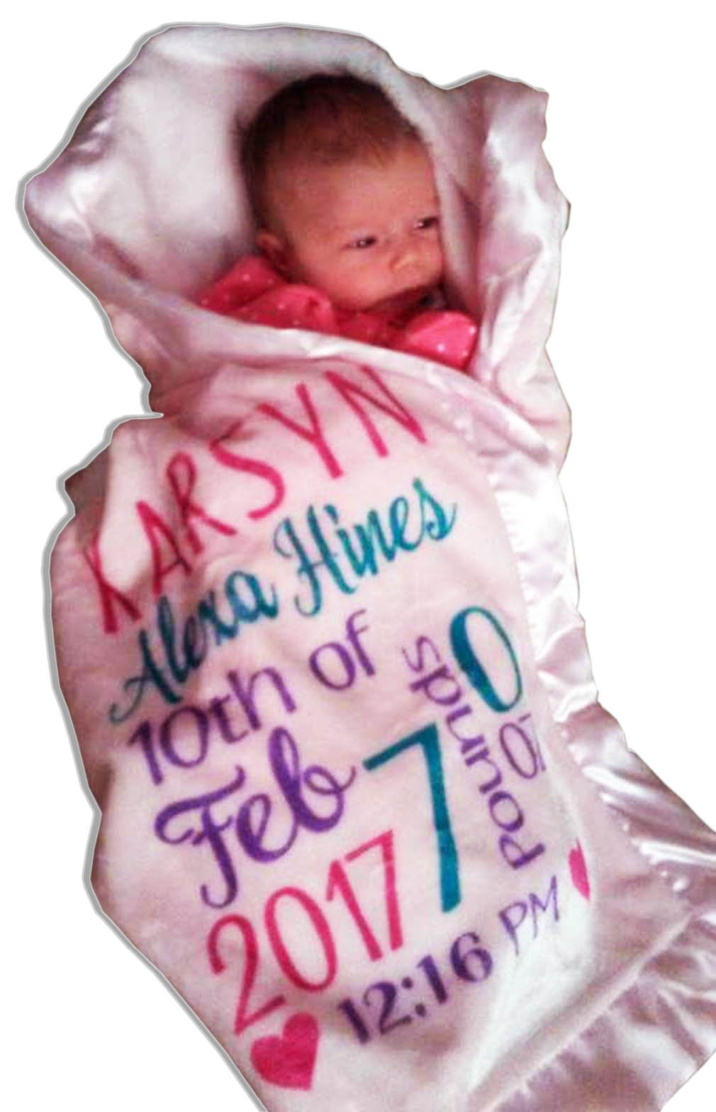 Personalized Baby Blankets ( 30''x40'', Pink Micro Plush Fleece with Satin Edge) for Girls Custom Printed With Name Birth Special Gifts for Newborn Baby Room Nursery Christening or Baptism