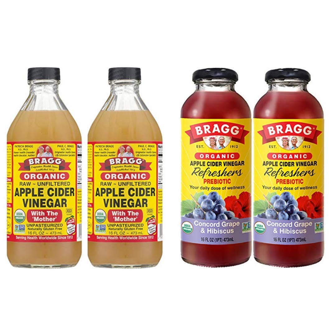 Bragg Organic Apple Cider Vinegar With the Mother 16 Ounce 2 Pack and Bragg Organic Apple Cinnamon Vinegar Drink 16 Ounce 2 Pack Bundle