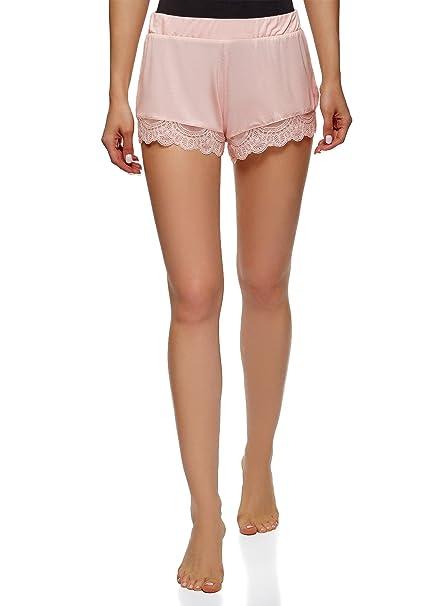 oodji Ultra Mujer Pantalones Cortos de Estar por Casa con Acabado de Encaje, Rosa,