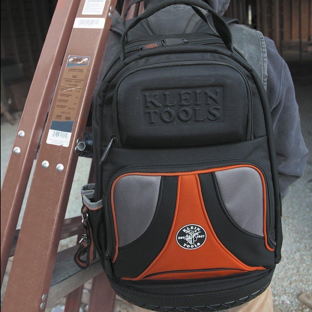 Werkzeugtasche Rucksack Heavy Duty Tradesman Pro Tool Organizer Tool Carrier Mit 39 Taschen Und Geformtem Boden Klein Tools 55421bp 14 Amazon De Baumarkt