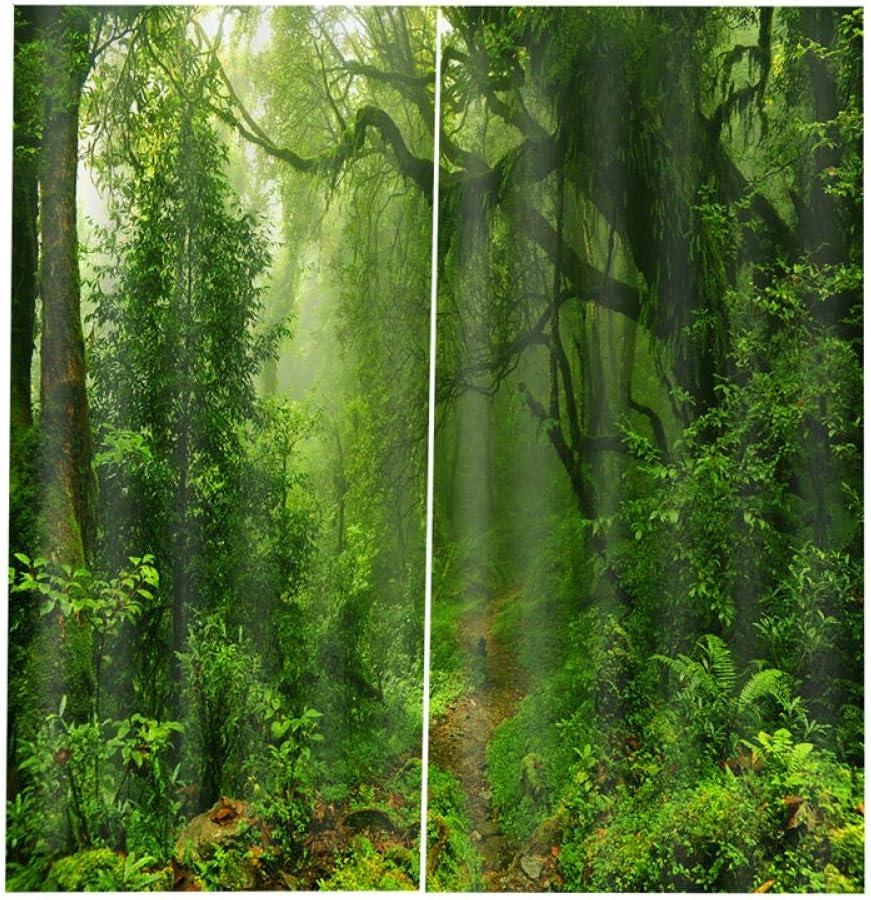 YLWMBB Vorhang Blickdicht mit /Ösen 3DGr/üner Wald Verdunkelungsvorhang 2er Set Gardine Polyester f/ür Schlafzimmer Kinderzimmer Wohnzimmer Dekoration 140x160cm