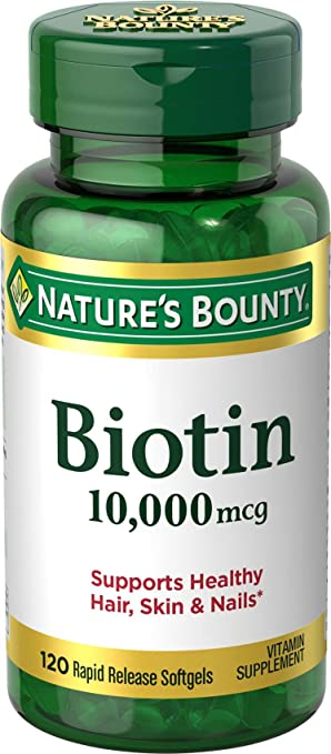 Nature S Bounty Biotin Supplement Supports Healthy Hair Skin And Nails 10 000 Mcg 120 Rapid Release Softgels
