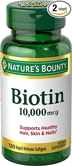 Nature's Bounty Biotin 10,000 Mcg, 120 Rapid Release Softgels (2 Bottles)