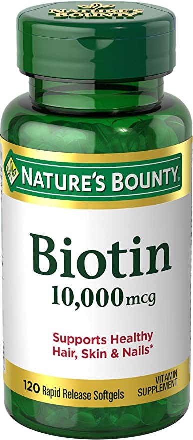 Nature's Bounty Biotin Supplement, Supports Healthy Hair, Skin, and Nails,  10000mcg,