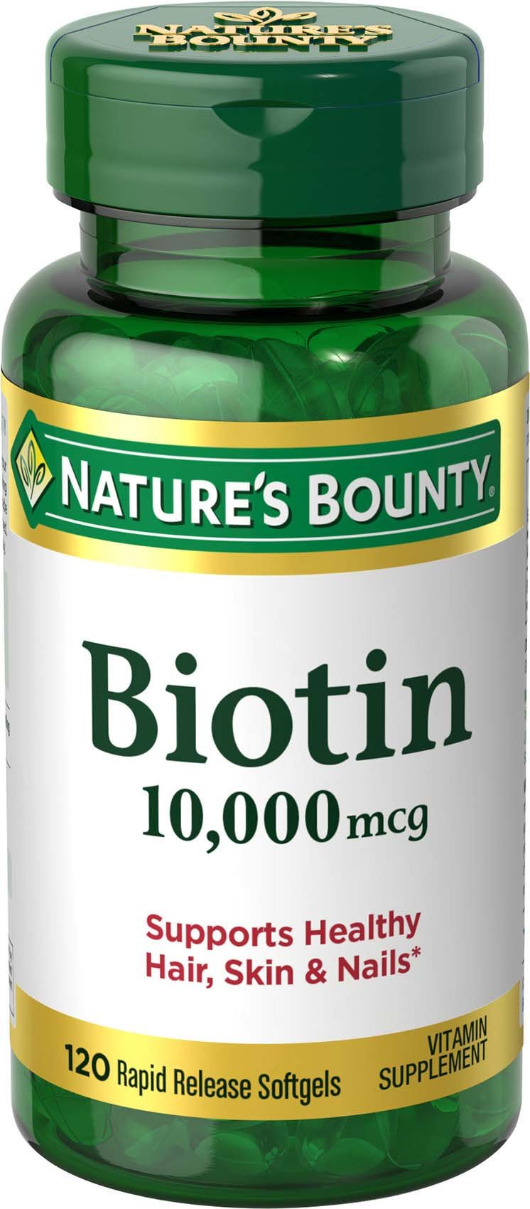 Nature's Bounty Biotin, 10,000 mcg (120 Rapid Release Softgels) B Vitamin Supplement