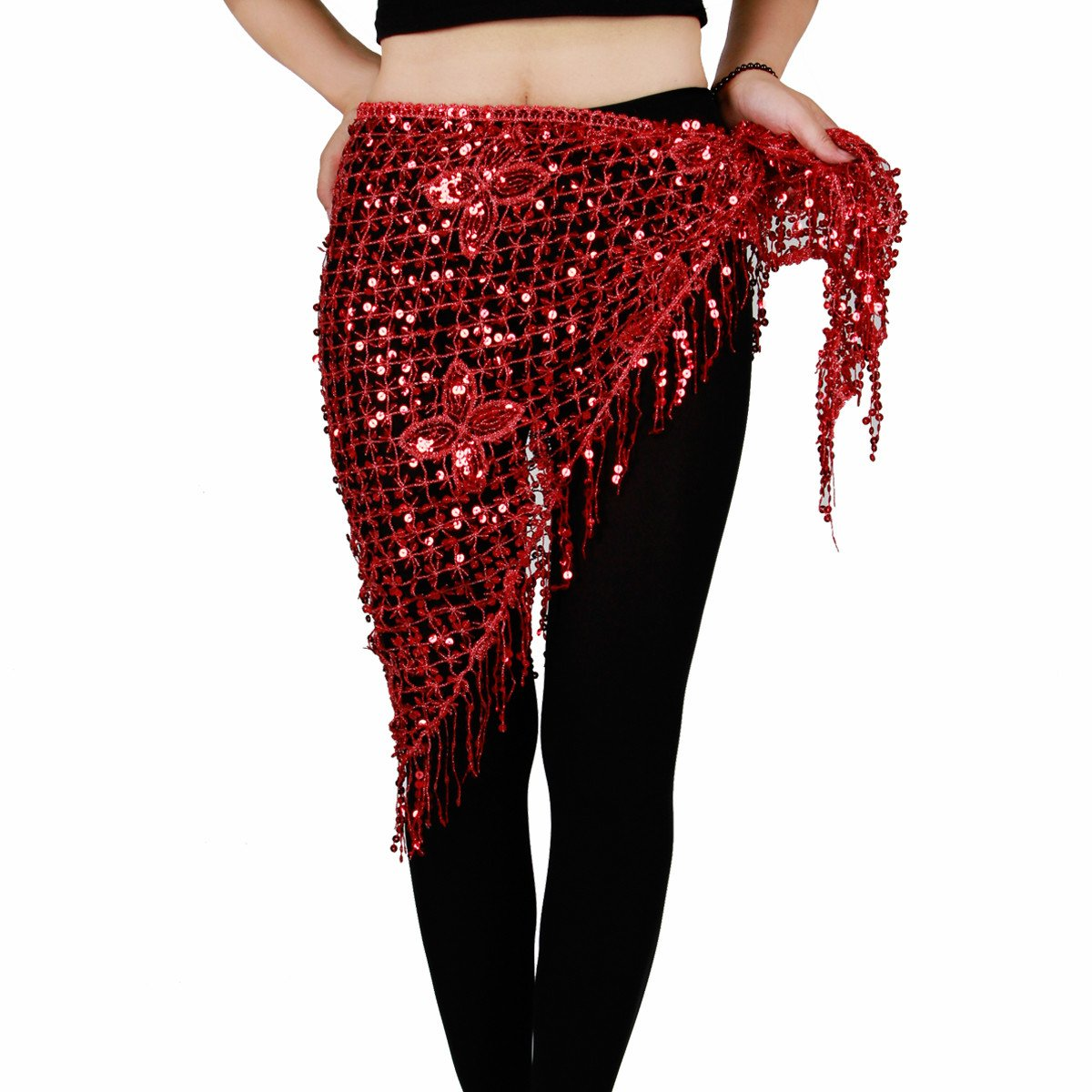 Belly Dance Hip Scarf - Hip Skirt Tassel Belts Triangle Shawl for Women(Fuchsia)