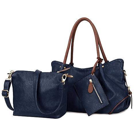 83965c02f9685 UTO Damen Handtasche Set 3 Stücke Tasche PU Leder Shopper klein  Schultertasche Geldbörse Trageband blau