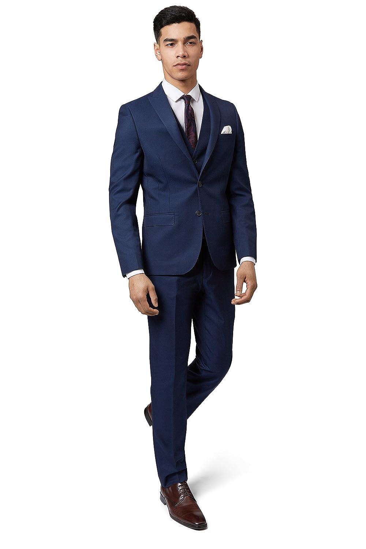 Moss London Men's Skinny Fit Blue Sharkskin Suit Jacket