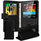 Gadget Giant® Nokia 215 / 215 Dual Sim Leather Wallet Flip Case Cover Book Style with Retractable Stylus Pen - Black