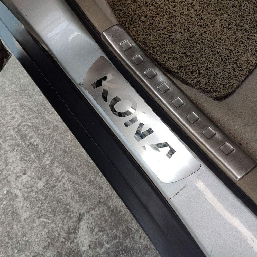 Trim Scuff Pedal Schwellenabdeckung Schutz Trim Zubeh/ör Edelstahl HJHNB 4 St/ücke Auto Einstiegsleisten F/ür Hyundai Kona 2017 2019 2020