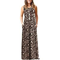 AUSELILY Women's Sleeveless Loose Casual Plain Tank Short Dresses