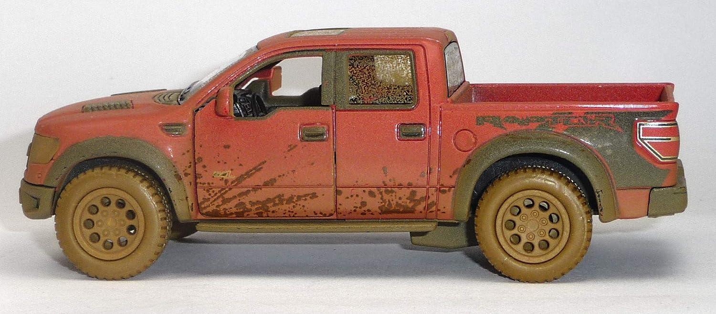 generisch 2013 Ford Raptor F-150 SVT Modellauto orange Muddy-Design 1:46 SuperCrew Kinsmart