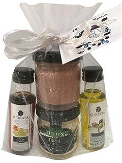Aceite de oliva, vinagre, crema de queso y paté en bolsa de organza