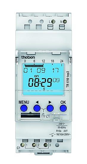Zeitschaltuhr para Hutschiene Betriebsspannung: 230 V/AC Theben TR610 top3 1 Wechsler 16 A