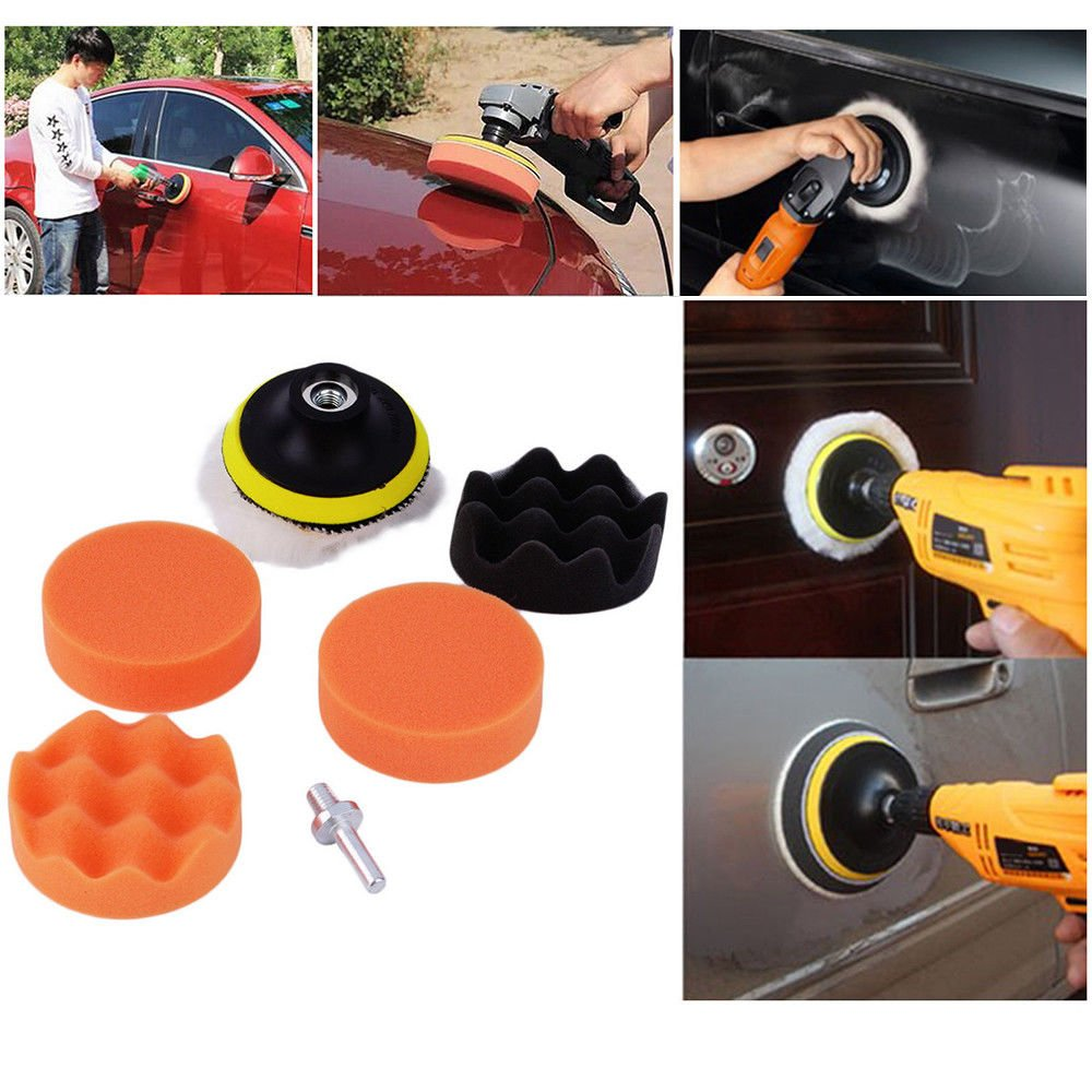 Simply Silver - Car Polish - 7pc 3'' Auto Car Polish Wax Foam Sponge Pad Polisher Buffer Set Drill Adapter Kit