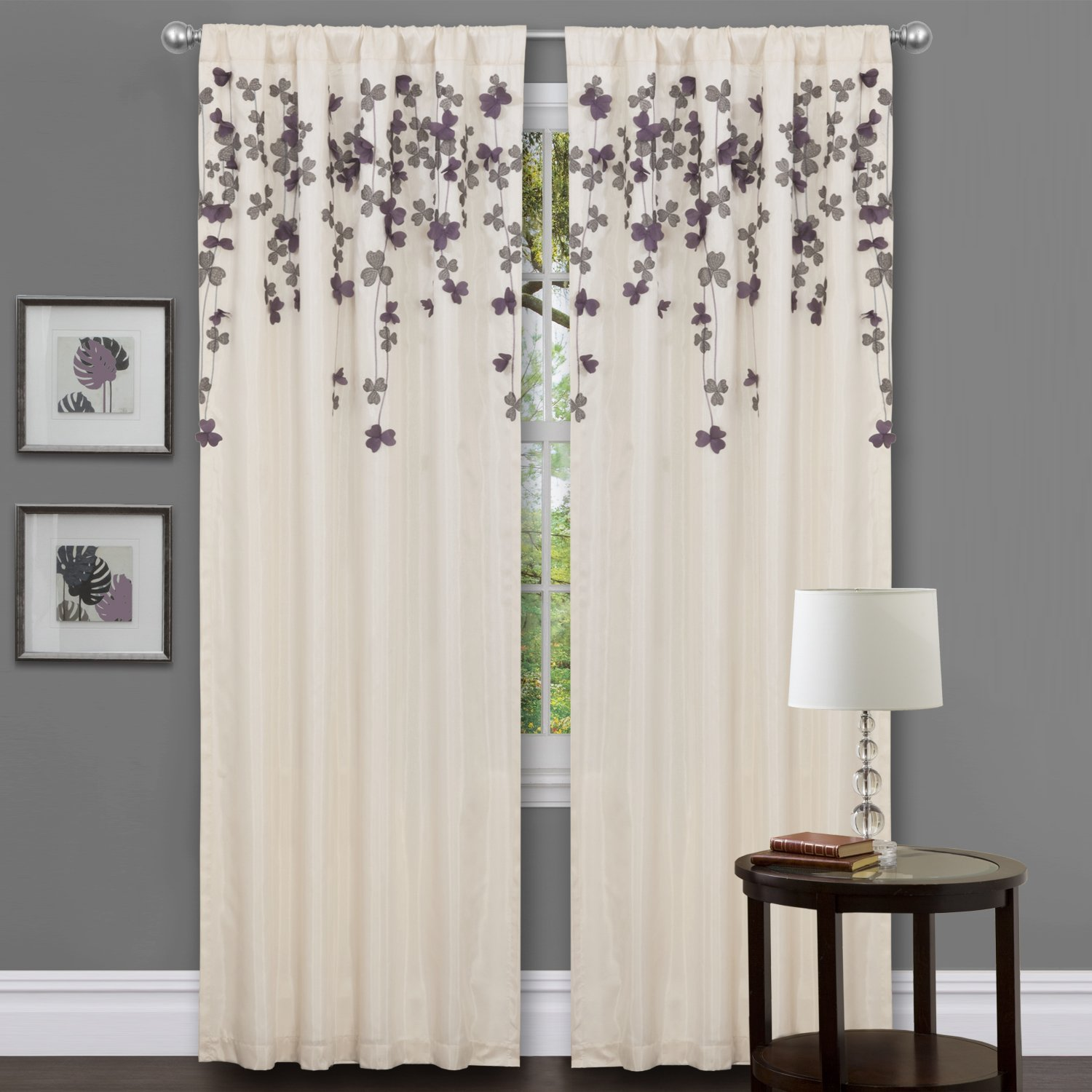 Lush Decor Flower Drop Curtain Panel, Purple