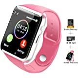 COSROLE Bluetooth Smart Watch, A1 Touch Screen Smart Wrist Watch with 8GB SD Card & Two Batteries & Screen Protector for iPhone Samsung Xiaomi Huawei Sony HTC LG Android Smartphones - Pink