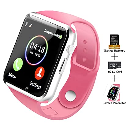 COSROLE Bluetooth Smart Watch, A1 Touch Screen Smart Wrist Watch with 8GB  SD Card & Two Batteries & Screen Protector for Samsung Xiaomi Huawei Sony
