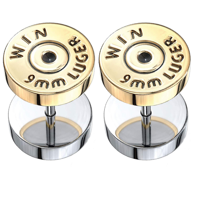 BodyJ4You Fake Ear Plugs Bullet Goldtone Steel Stud Earrings Cheater Faux Gauges 00G Look Unisex FK2219
