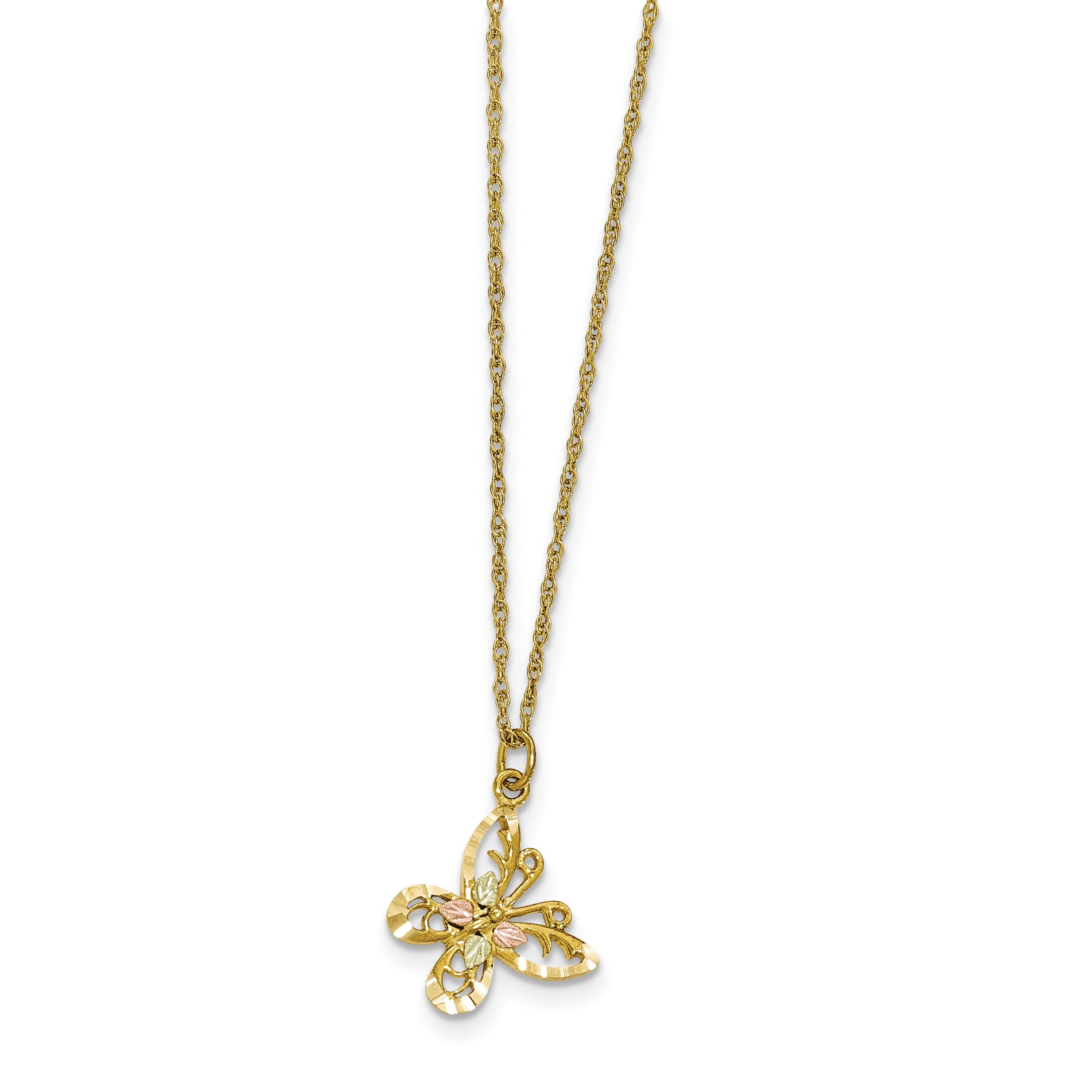 ICE CARATS 10k Tri Color Black Hills Gold Butterfly Chain Necklace Hill Animals/insect Fine Jewelry Gift Set For Women Heart