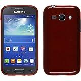 PhoneNatic Case für Samsung Galaxy Ace 3 Hülle Silikon rot brushed Cover Galaxy Ace 3 Tasche + 2 Schutzfolien