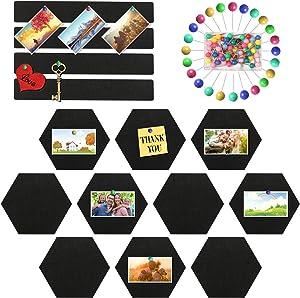 Ayamuba 14 Pack Pin Board Hexagon Felt Board Tile, Black Felt Bulletin Board Bar Strip with 50 Pieces Push Pins for Home Office Classroom Wall Decor