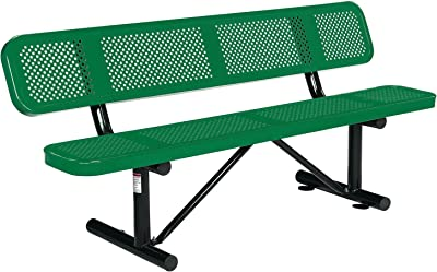 """72"""" Picnic Bench With Backrest, Green"""