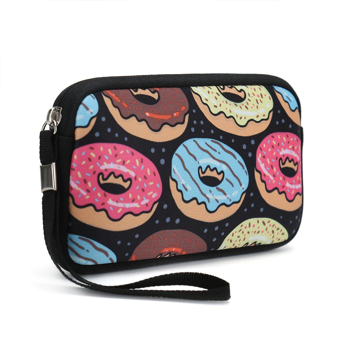 ユニセックスポータブル洗濯可能旅行すべてのスマートフォンWristlets財布財布バッグクラッチ変更、鉛筆バッグ、変更、コスメティックバッグポーチコイン財布ファスナーホルダーwithストラップ  Bread Donuts B0776GCJK4