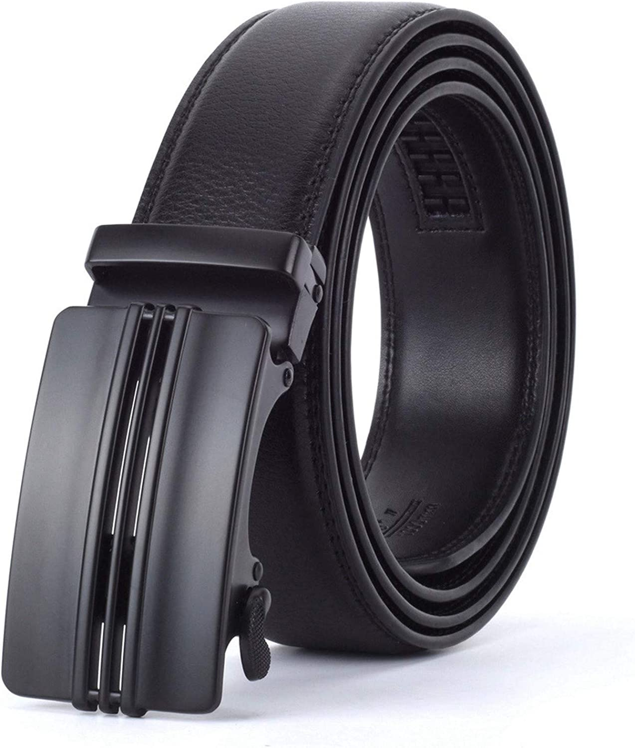 Men Automatic Buckle Leather luxury Belt Business Male Alloy buckle Belts for Men Ceinture Homme,M,110cm