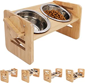 VIEFIN Raised Pet Bowls for Cats Small Dogs Puppies,Adjustable Bamboo Elevated Dog Bowls Stand,15° Tilted Raised Cat Dog Food and Water Stand Feeder Set with 2 Large Stainless Steel Bowls