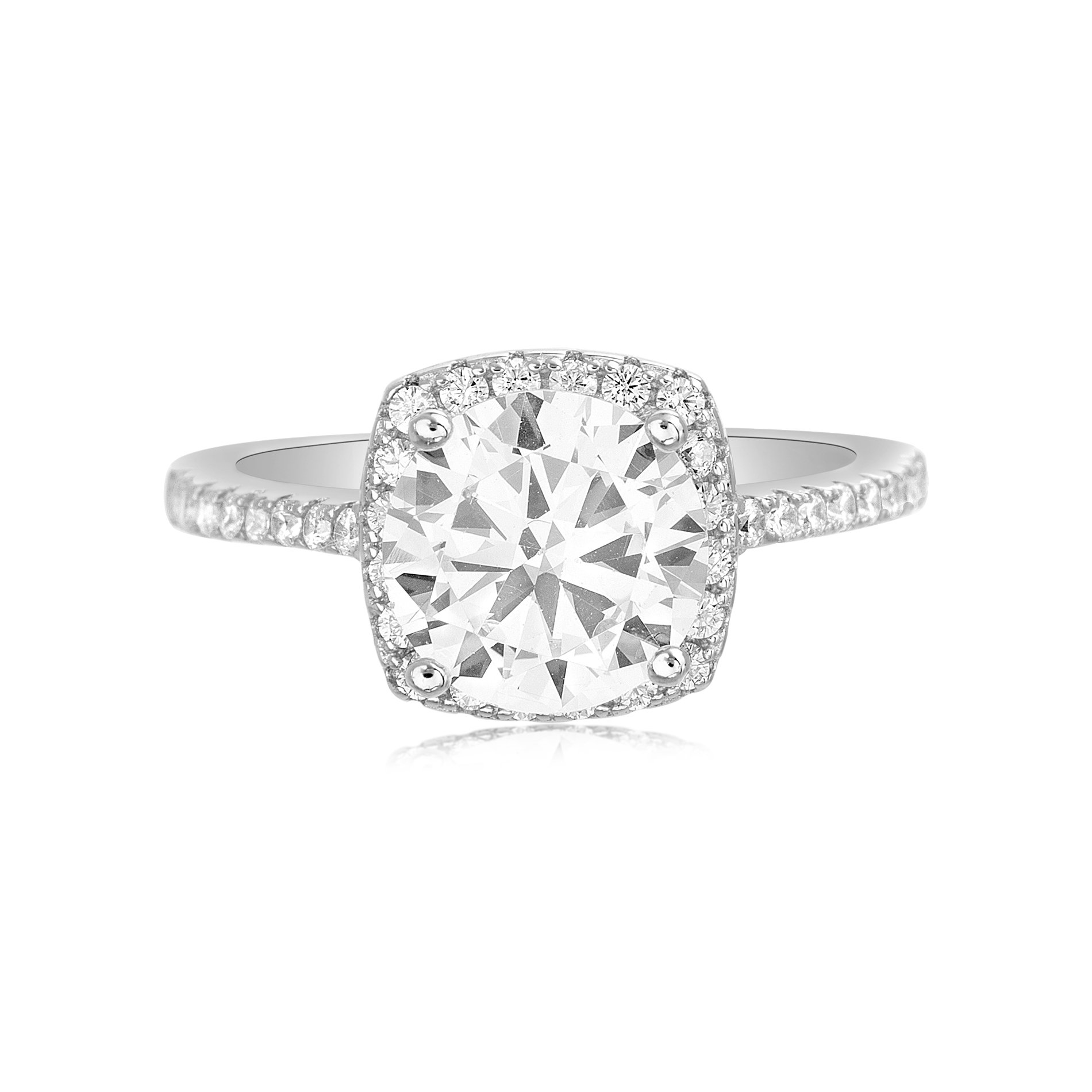 Lesa Michele Women's Round Cubic Zirconia Solitaire with Halo Bridal Engagement Ring in Sterling Silver (Size 6)