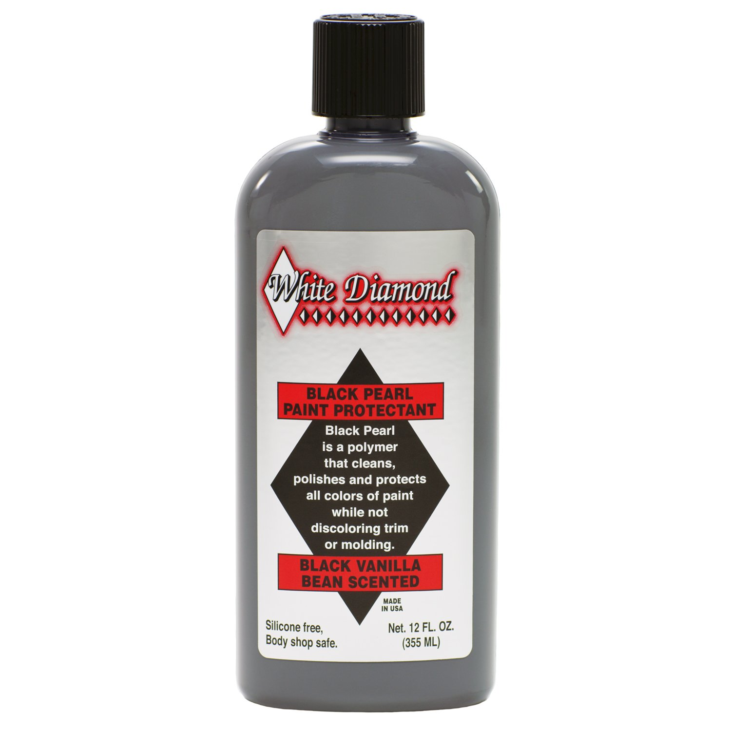 White Diamond Black Pearl Paint Protectant is a Polymer That Cleans, Polishes and Protects of Paint While not discoloring Trim or molding. Can Even Apply in Direct Sunlight! Schultz Laboratories Mfr. Inc.