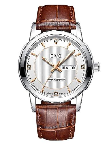 9a9d5955c612 CIVO Reloj de Cuero para Hombres Impermeable Reloj Día Fecha Clásico Moda  Diseñador Retro Relojes de Pulsera Caballeros Deportivo Adolescente Chicos  Vestido ...