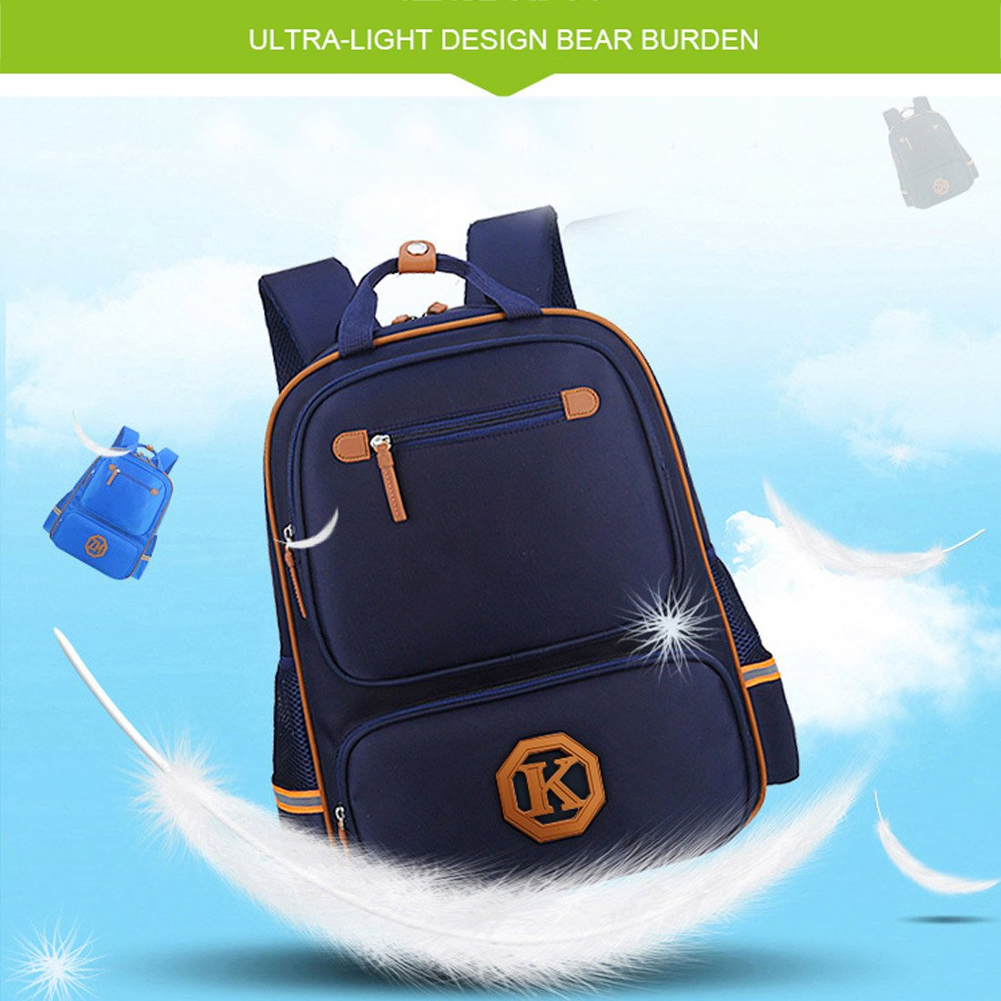 ALILON Nylon Leather Comfortable Reinforcement Thickening Durable Environmental Protection KidsBackpack
