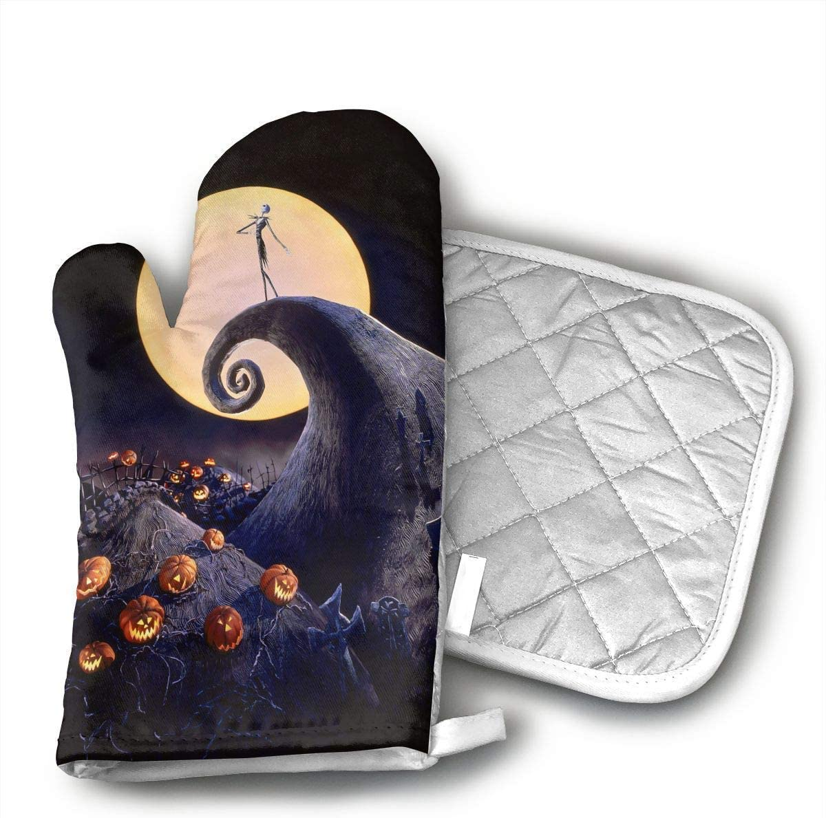 NoveltyGloves The Nightmare Before Christmas Oven Mitts,Professional Heat Resistant Microwave BBQ Oven Insulation Thickening Cotton Gloves Baking Pot Mitts Soft Inner Lining Kitchen Cooking