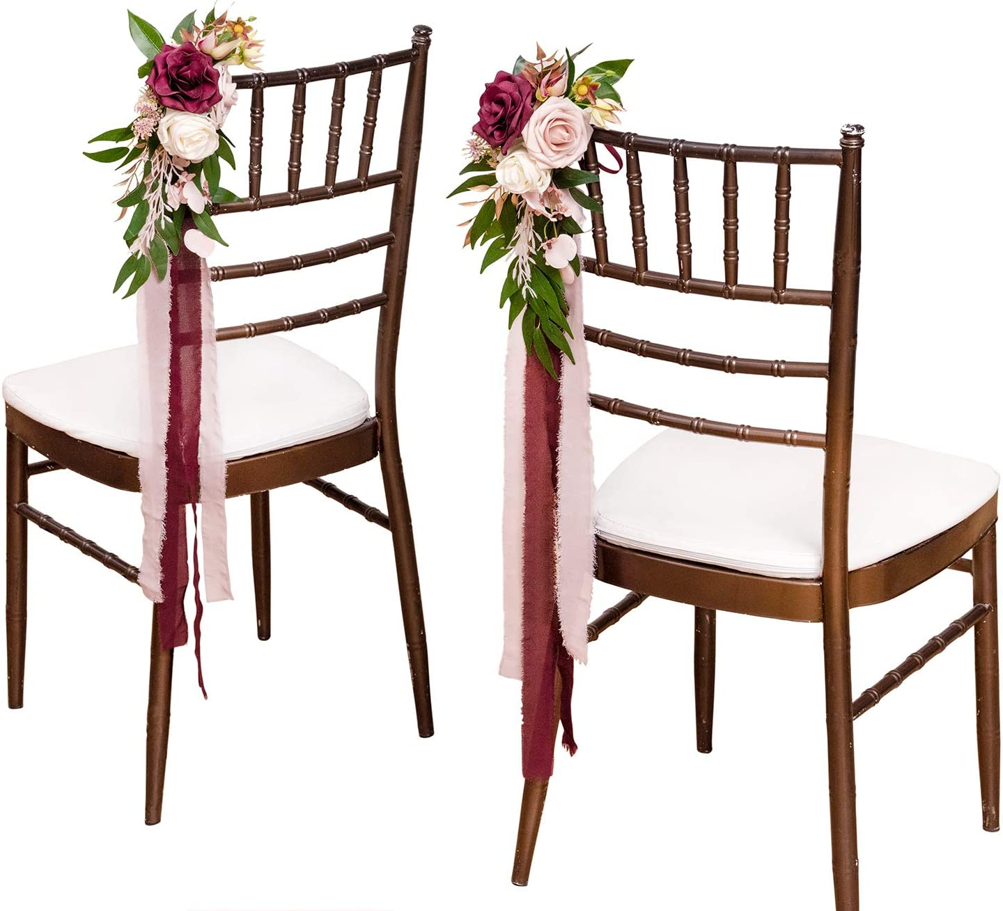 Ling's moment Rustic Wedding Aisle Decor Chair Decorations Artificial Flower Pew Decorations for Wedding Ceremony Set of 8, Dusty Rose & Marsala